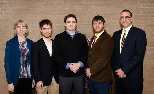 Pictured at the spring 2015 dinner are: (from left to right) Graduate School Dean, Lynn Cooley, Liam Sharninghausen (Chemistry), Jared Rovny (Physics), Joseph Faucher (Engineering and Applied Science, and Dean of Yale College, Jonathan Holloway.  Not in attendance: Alexander Cerjan (Physics)