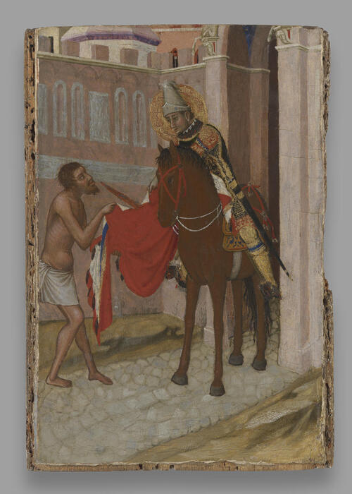 "Ambrogio Lorenzetti, ""Saint Martin of Tours Dividing His Cloak with a Beggar,"" Yale University Art Gallery; Photo: Yale University Art Gallery"