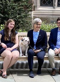 Lucy Armentano, Student Marshal; Lynn Cooley, Dean of the Graduate School; Handsome Dan, Yale Mascot; and Stephen Gaughran, Student Marshal (photo by April Swieconek)