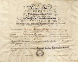 Image of the first Ph.D. Diploma awarded in the US, Yale, 1861 (text in Latin)